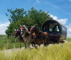 Dreiergespann am großen Planwagen